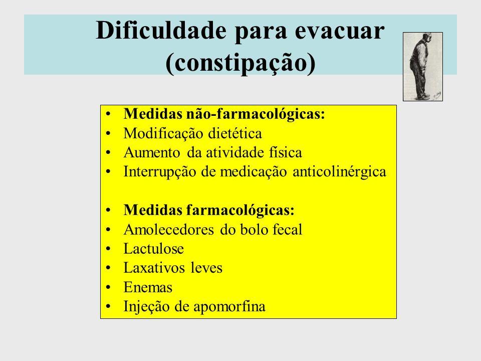 Dificuldade para evacuar (constipação) Medidas não-farmacológicas: Modificação dietética Aumento da atividade física Interrupção de medicação anticoli