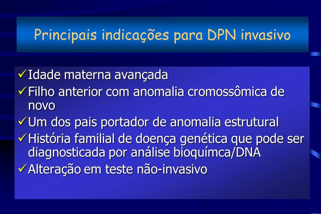 Principais indicações para DPN invasivo üIdade materna avançada üFilho anterior com anomalia cromossômica de novo üUm dos pais portador de anomalia es