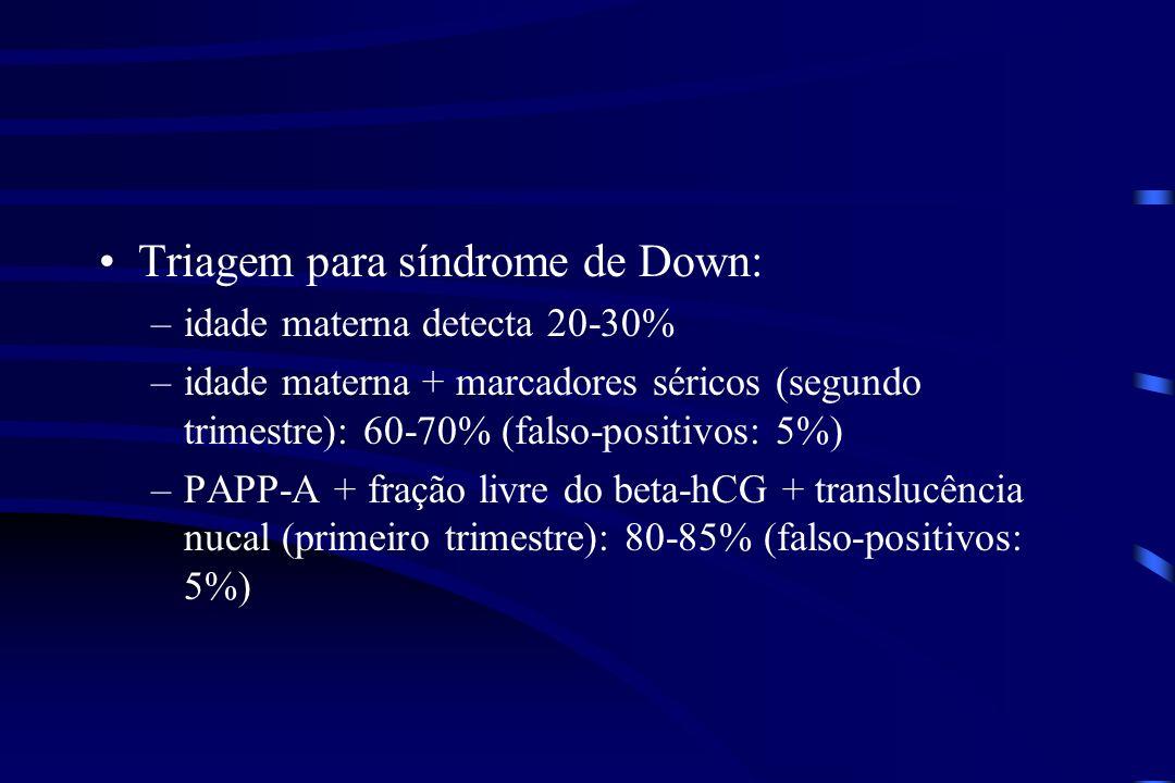 Triagem para síndrome de Down: –idade materna detecta 20-30% –idade materna + marcadores séricos (segundo trimestre): 60-70% (falso-positivos: 5%) –PA