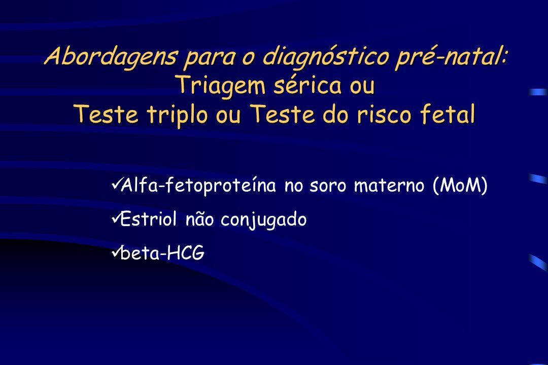 Abordagens para o diagnóstico pré-natal: Triagem sérica ou Teste triplo ou Teste do risco fetal Alfa-fetoproteína no soro materno (MoM) Estriol não co