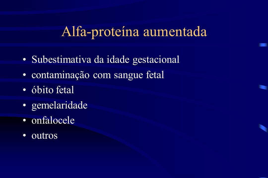 Alfa-proteína aumentada Subestimativa da idade gestacional contaminação com sangue fetal óbito fetal gemelaridade onfalocele outros