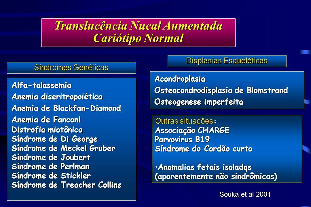 Translucência Nucal Aumentada Cariótipo Normal Acondroplasia Osteocondrodisplasia de Blomstrand Osteogenese imperfeita Displasias Esqueléticas Alfa-ta