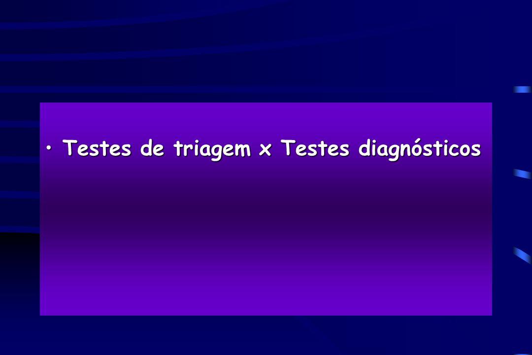 Testes de triagem x Testes diagnósticosTestes de triagem x Testes diagnósticos