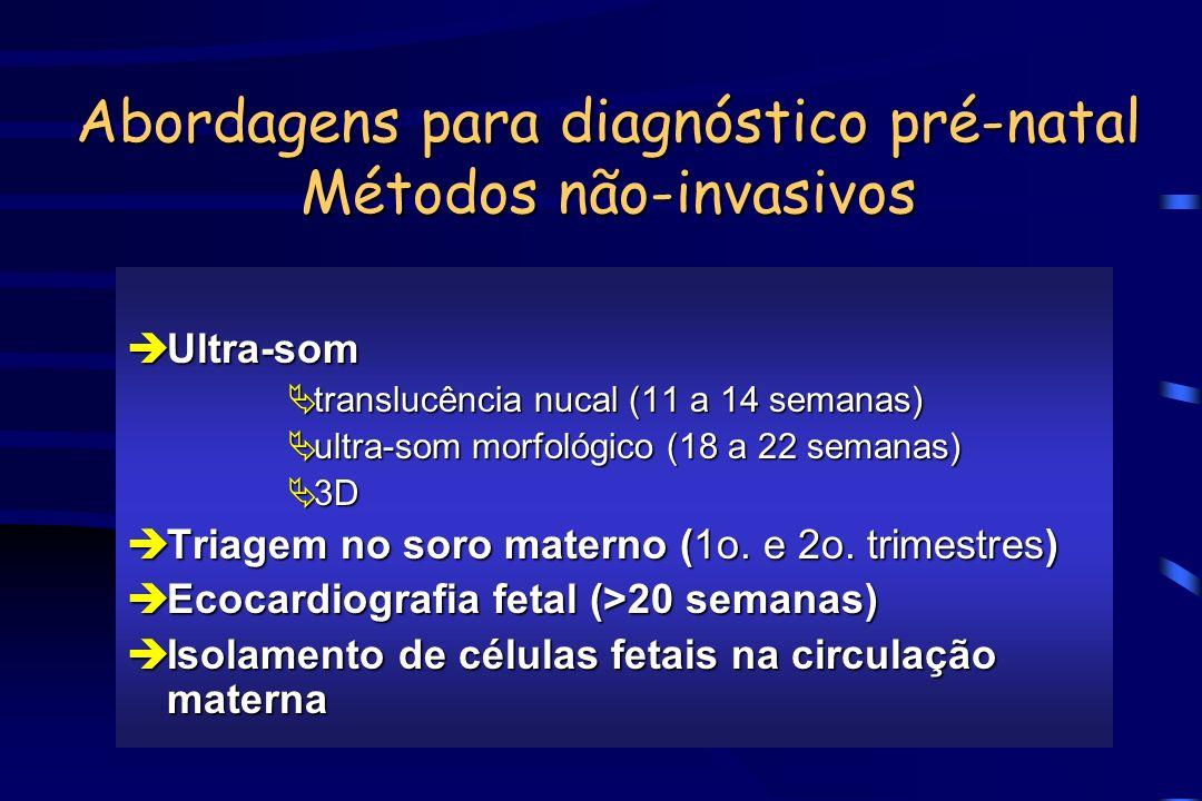 Abordagens para diagnóstico pré-natal Métodos não-invasivos èUltra-som Ätranslucência nucal (11 a 14 semanas) Äultra-som morfológico (18 a 22 semanas)