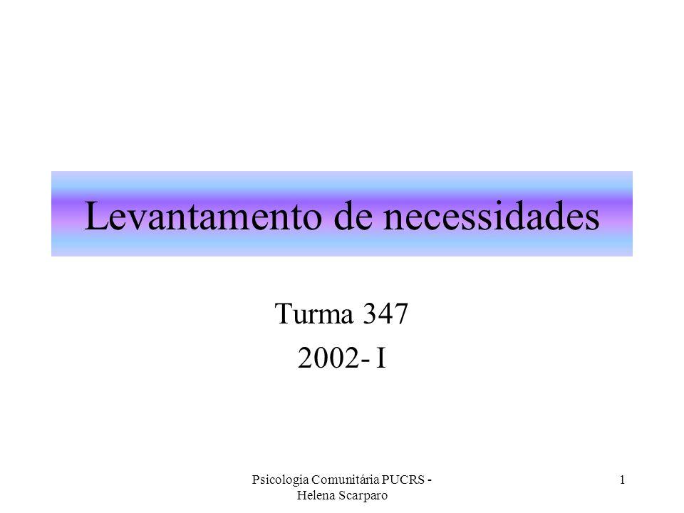 Psicologia Comunitária PUCRS - Helena Scarparo 1 Levantamento de necessidades Turma 347 2002- I
