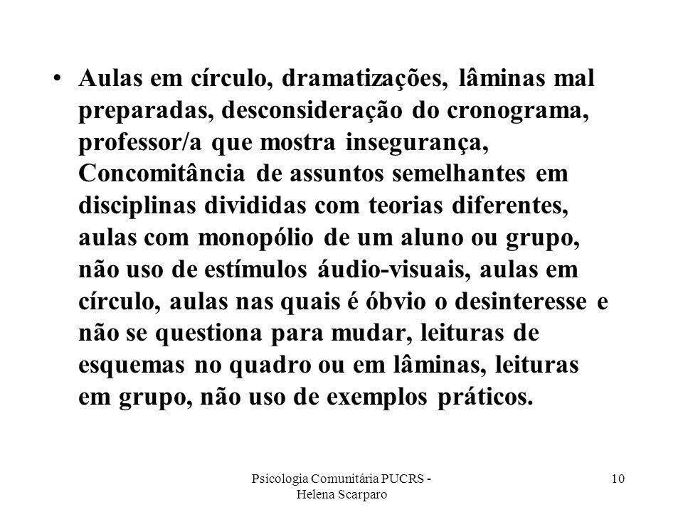 Psicologia Comunitária PUCRS - Helena Scarparo 10 Aulas em círculo, dramatizações, lâminas mal preparadas, desconsideração do cronograma, professor/a