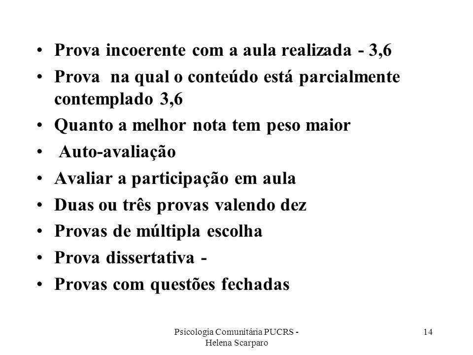 Psicologia Comunitária PUCRS - Helena Scarparo 14 Prova incoerente com a aula realizada - 3,6 Prova na qual o conteúdo está parcialmente contemplado 3