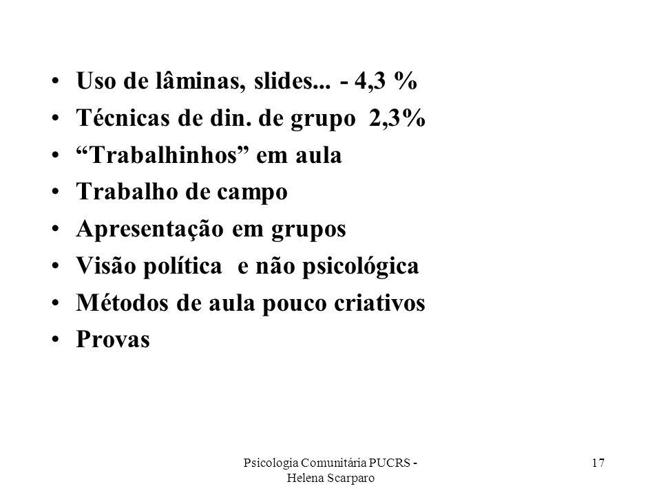 Psicologia Comunitária PUCRS - Helena Scarparo 17 Uso de lâminas, slides... - 4,3 % Técnicas de din. de grupo 2,3% Trabalhinhos em aula Trabalho de ca