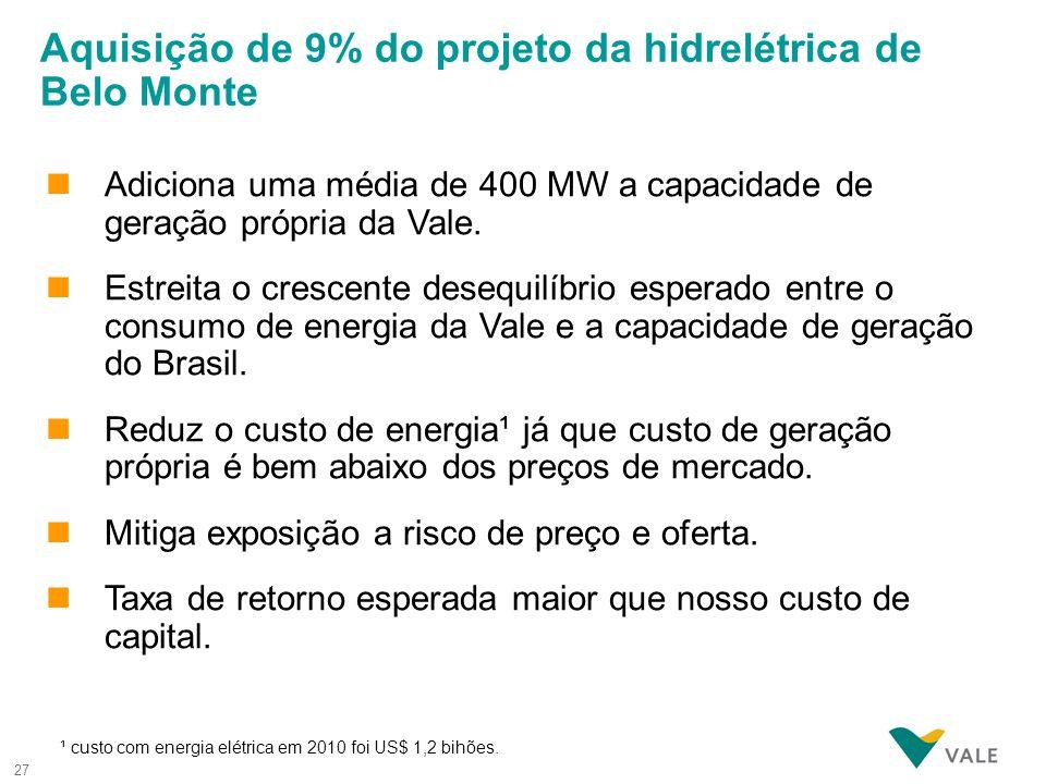 27 nAdiciona uma média de 400 MW a capacidade de geração própria da Vale. nEstreita o crescente desequilíbrio esperado entre o consumo de energia da V