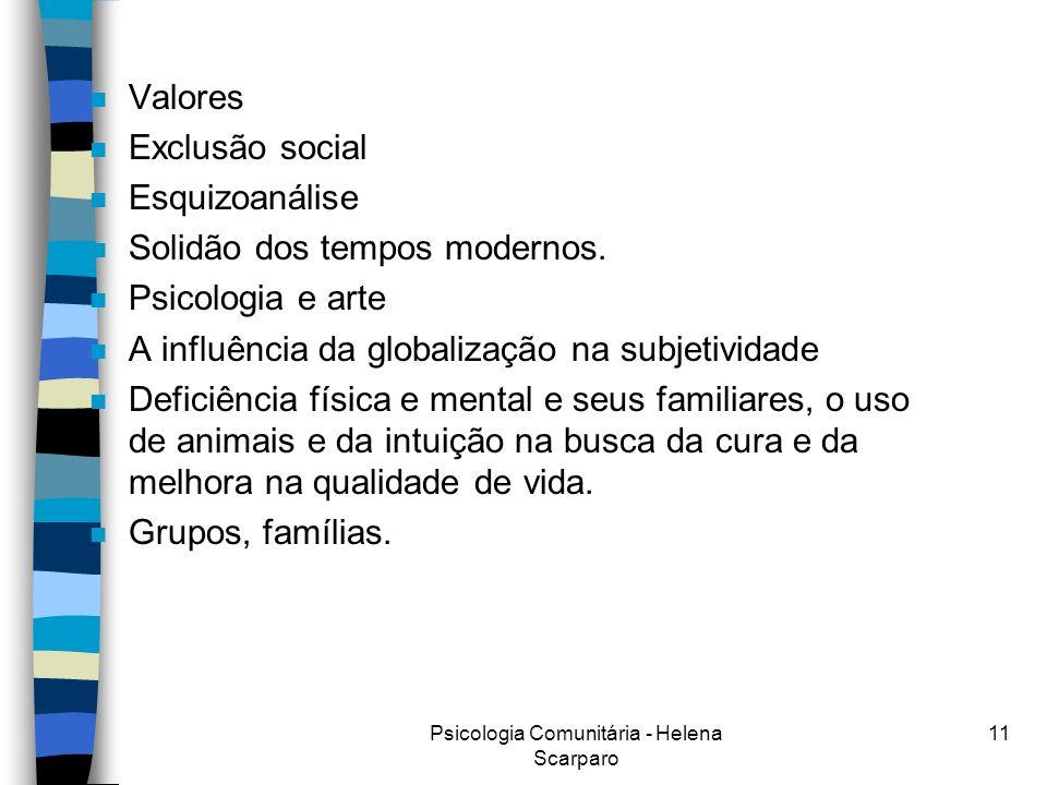 Psicologia Comunitária - Helena Scarparo 11 n Valores n Exclusão social n Esquizoanálise n Solidão dos tempos modernos.