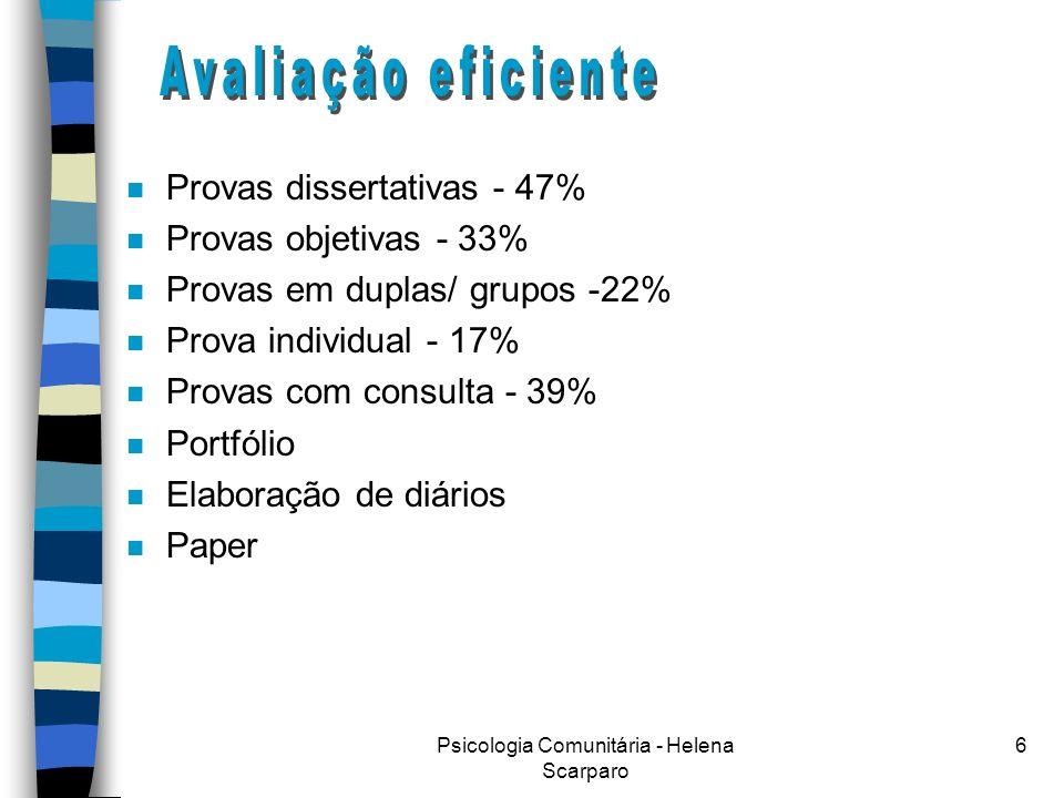 Psicologia Comunitária - Helena Scarparo 6 n Provas dissertativas - 47% n Provas objetivas - 33% n Provas em duplas/ grupos -22% n Prova individual - 17% n Provas com consulta - 39% n Portfólio n Elaboração de diários n Paper