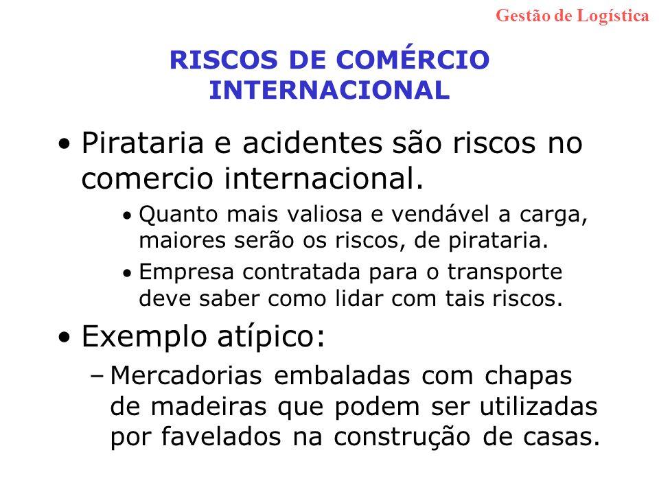 RISCOS DE COMÉRCIO INTERNACIONAL Pirataria e acidentes são riscos no comercio internacional. Quanto mais valiosa e vendável a carga, maiores serão os