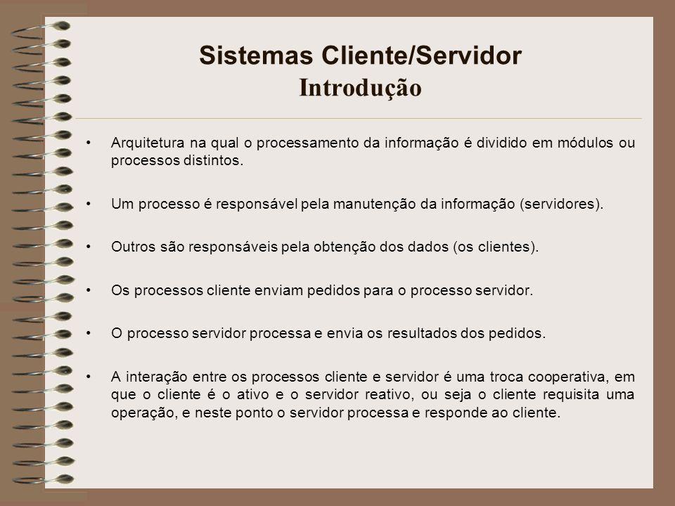 Sistemas Cliente/Servidor Introdução Arquitetura na qual o processamento da informação é dividido em módulos ou processos distintos. Um processo é res