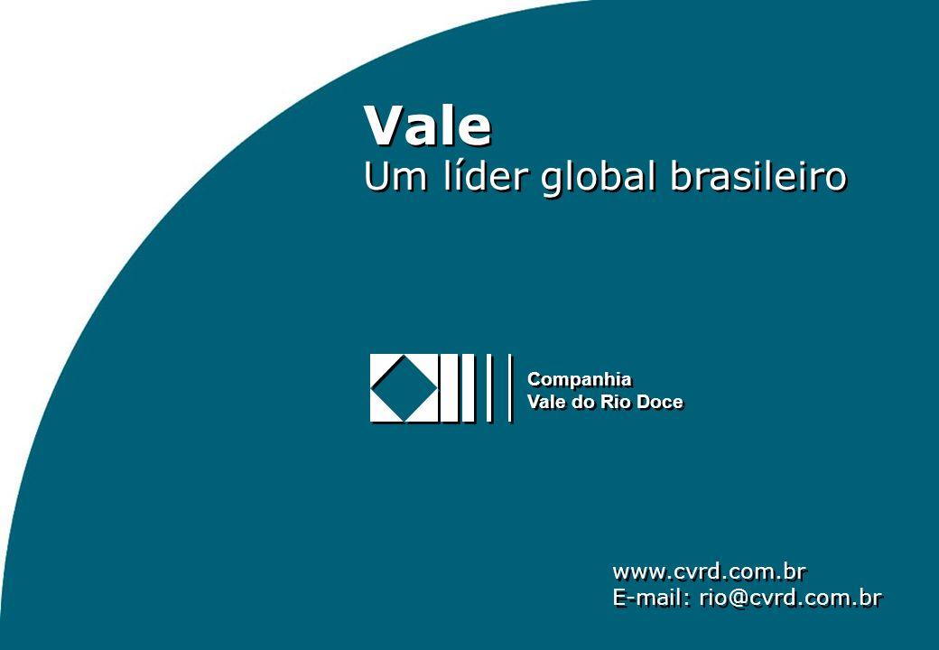 10 Vale Um líder global brasileiro Vale Um líder global brasileiro www.cvrd.com.br E-mail: rio@cvrd.com.br www.cvrd.com.br E-mail: rio@cvrd.com.br Companhia Vale do Rio Doce Companhia Vale do Rio Doce