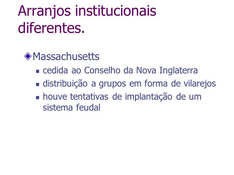 Arranjos institucionais diferentes. Massachusetts cedida ao Conselho da Nova Inglaterra distribuição a grupos em forma de vilarejos houve tentativas d