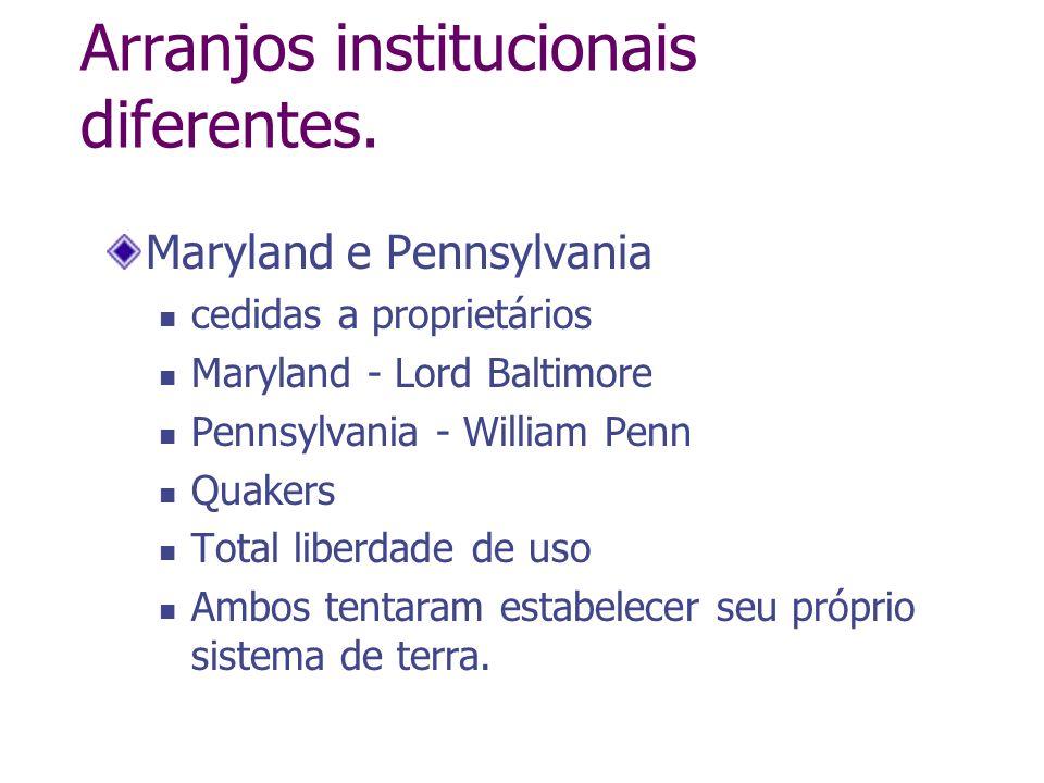 Arranjos institucionais diferentes. Maryland e Pennsylvania cedidas a proprietários Maryland - Lord Baltimore Pennsylvania - William Penn Quakers Tota