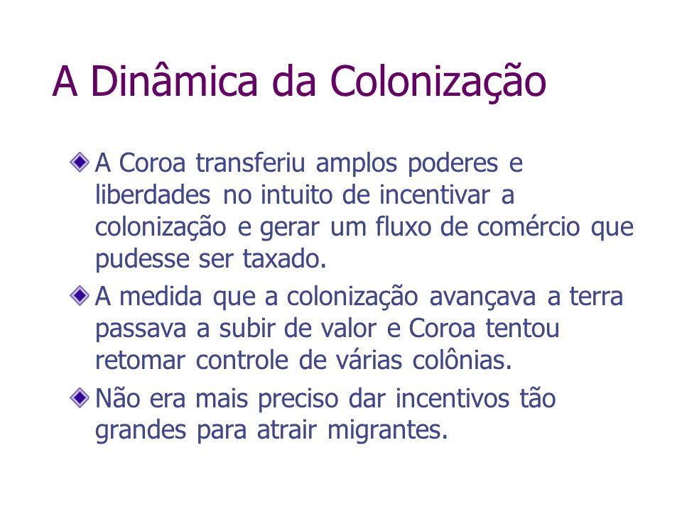 A Dinâmica da Colonização A Coroa transferiu amplos poderes e liberdades no intuito de incentivar a colonização e gerar um fluxo de comércio que pudes