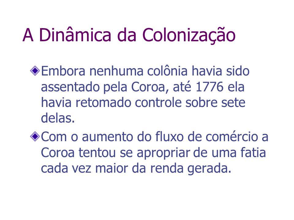 A Dinâmica da Colonização Embora nenhuma colônia havia sido assentado pela Coroa, até 1776 ela havia retomado controle sobre sete delas. Com o aumento