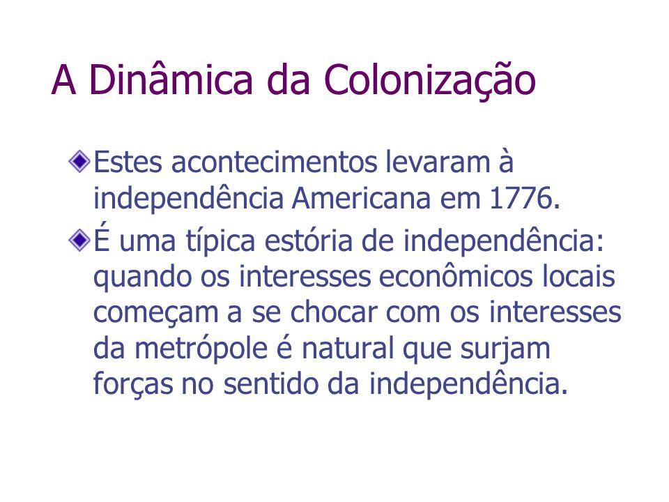 A Dinâmica da Colonização Estes acontecimentos levaram à independência Americana em 1776. É uma típica estória de independência: quando os interesses