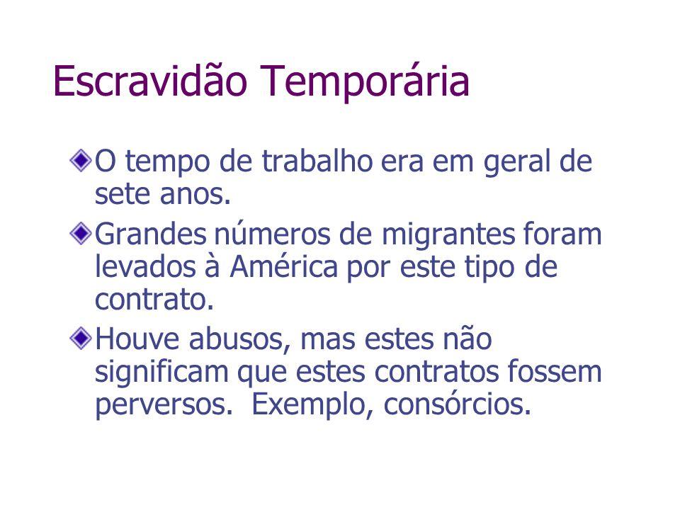 Escravidão Temporária O tempo de trabalho era em geral de sete anos. Grandes números de migrantes foram levados à América por este tipo de contrato. H