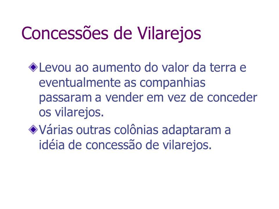 Concessões de Vilarejos Levou ao aumento do valor da terra e eventualmente as companhias passaram a vender em vez de conceder os vilarejos. Várias out