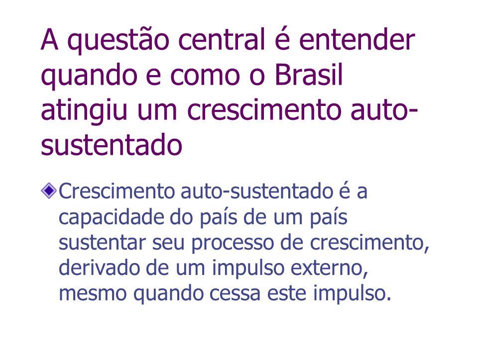 A questão central é entender quando e como o Brasil atingiu um crescimento auto- sustentado Crescimento auto-sustentado é a capacidade do país de um p