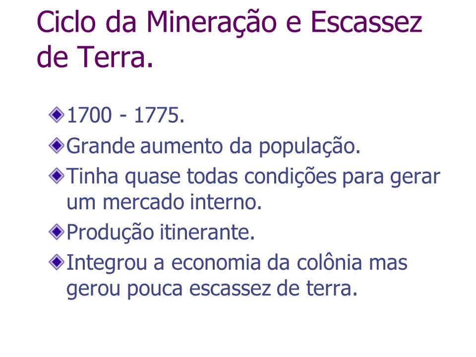 Ciclo da Mineração e Escassez de Terra. 1700 - 1775. Grande aumento da população. Tinha quase todas condições para gerar um mercado interno. Produção