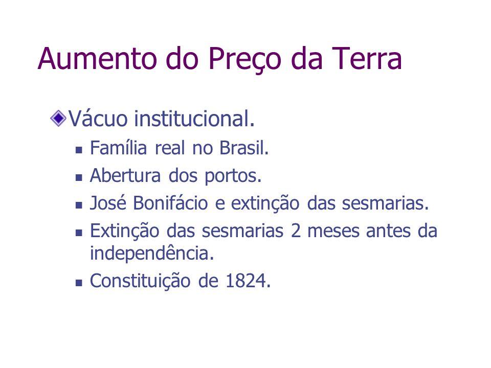 Aumento do Preço da Terra Vácuo institucional. Família real no Brasil. Abertura dos portos. José Bonifácio e extinção das sesmarias. Extinção das sesm
