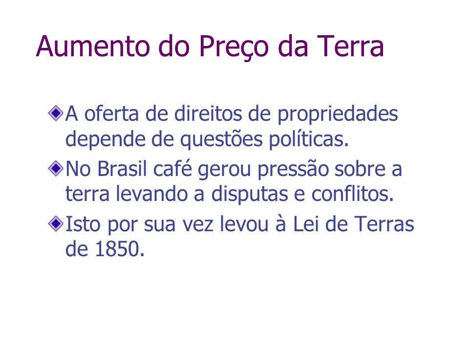 A oferta de direitos de propriedades depende de questões políticas. No Brasil café gerou pressão sobre a terra levando a disputas e conflitos. Isto po