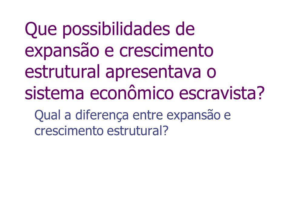 Que possibilidades de expansão e crescimento estrutural apresentava o sistema econômico escravista? Qual a diferença entre expansão e crescimento estr