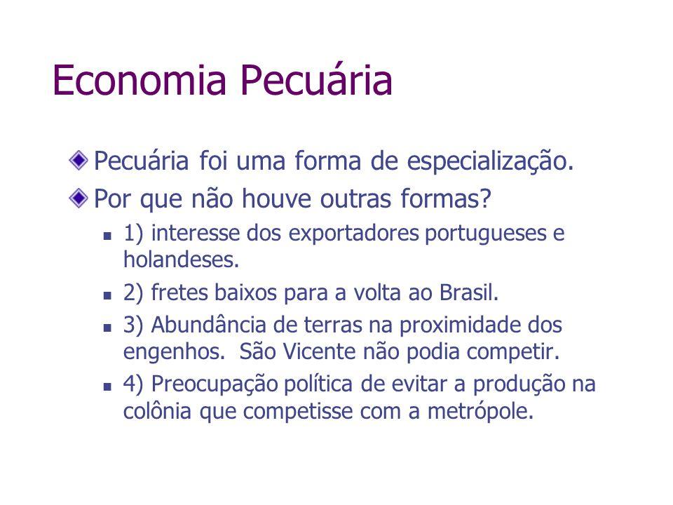 Economia Pecuária Pecuária foi uma forma de especialização. Por que não houve outras formas? 1) interesse dos exportadores portugueses e holandeses. 2
