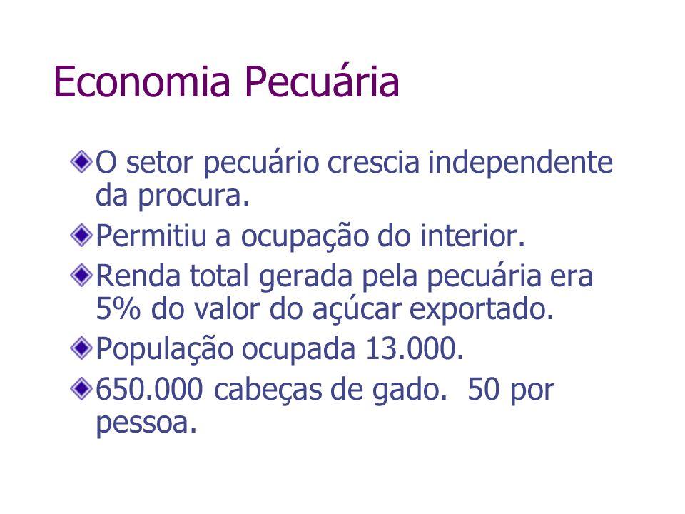 Economia Pecuária O setor pecuário crescia independente da procura. Permitiu a ocupação do interior. Renda total gerada pela pecuária era 5% do valor