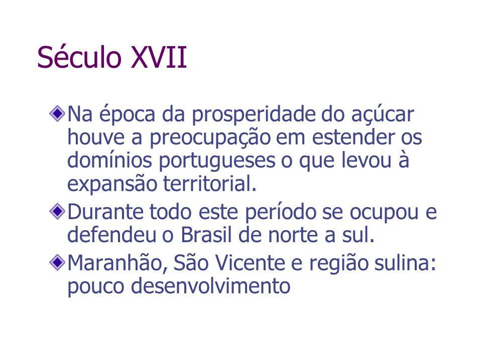 Século XVII Na época da prosperidade do açúcar houve a preocupação em estender os domínios portugueses o que levou à expansão territorial. Durante tod