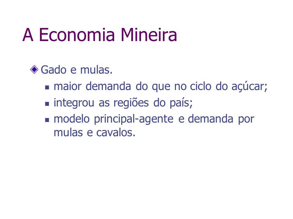 A Economia Mineira Gado e mulas. maior demanda do que no ciclo do açúcar; integrou as regiões do país; modelo principal-agente e demanda por mulas e c
