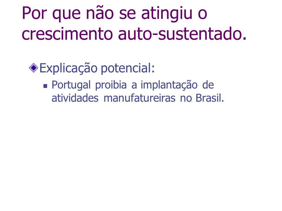 Por que não se atingiu o crescimento auto-sustentado. Explicação potencial: Portugal proibia a implantação de atividades manufatureiras no Brasil.