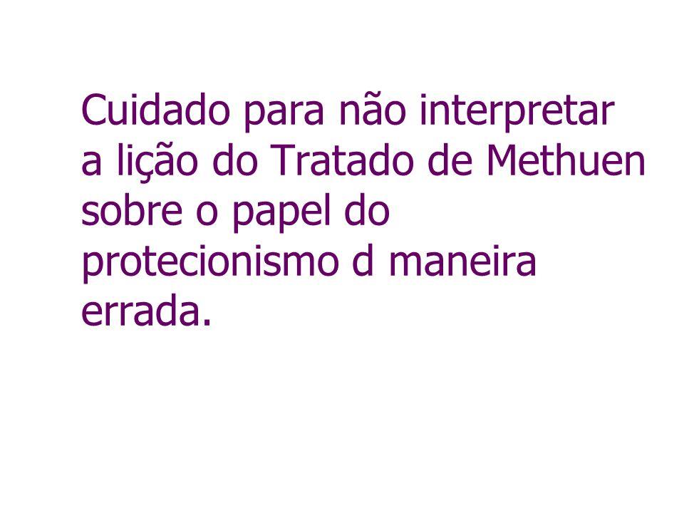 Cuidado para não interpretar a lição do Tratado de Methuen sobre o papel do protecionismo d maneira errada.