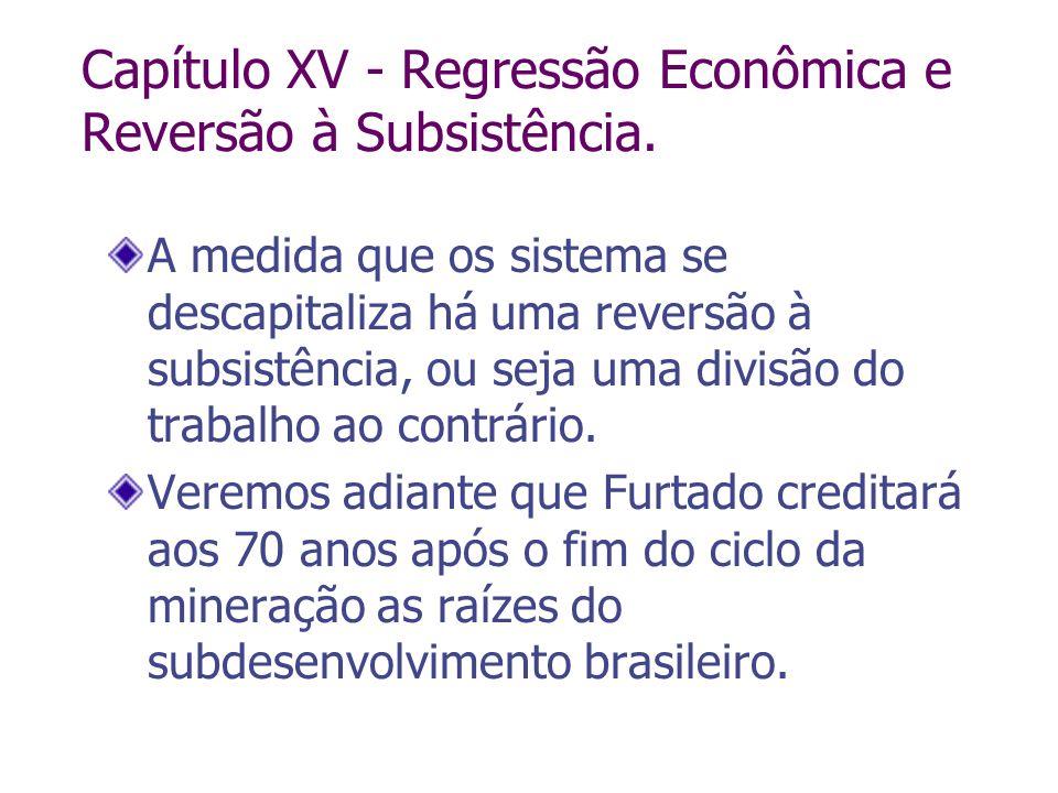 Capítulo XV - Regressão Econômica e Reversão à Subsistência. A medida que os sistema se descapitaliza há uma reversão à subsistência, ou seja uma divi