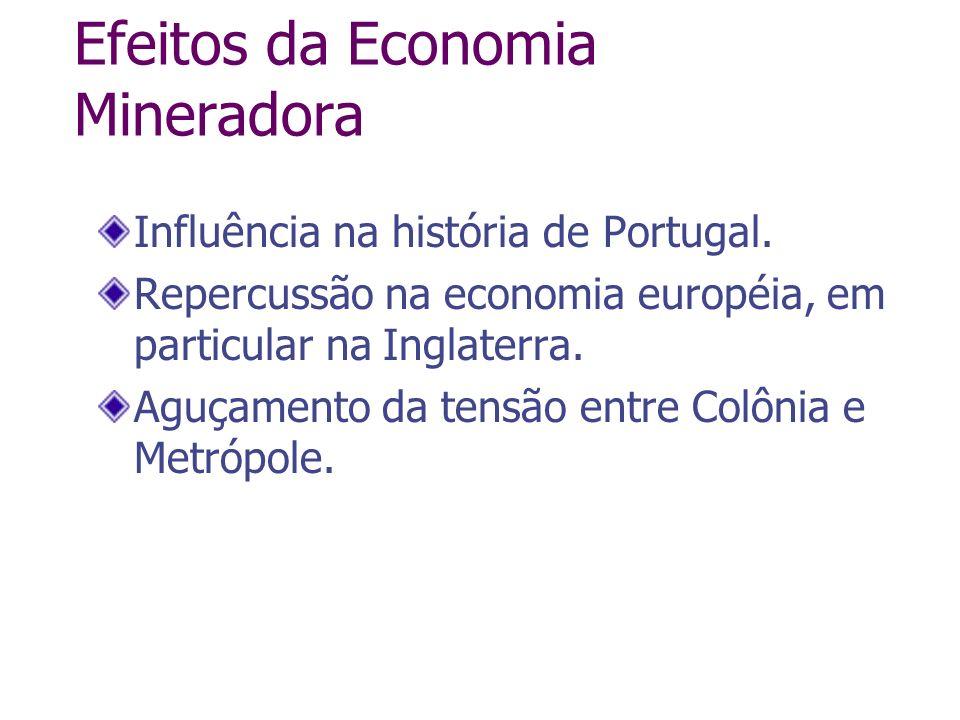 Efeitos da Economia Mineradora Influência na história de Portugal. Repercussão na economia européia, em particular na Inglaterra. Aguçamento da tensão