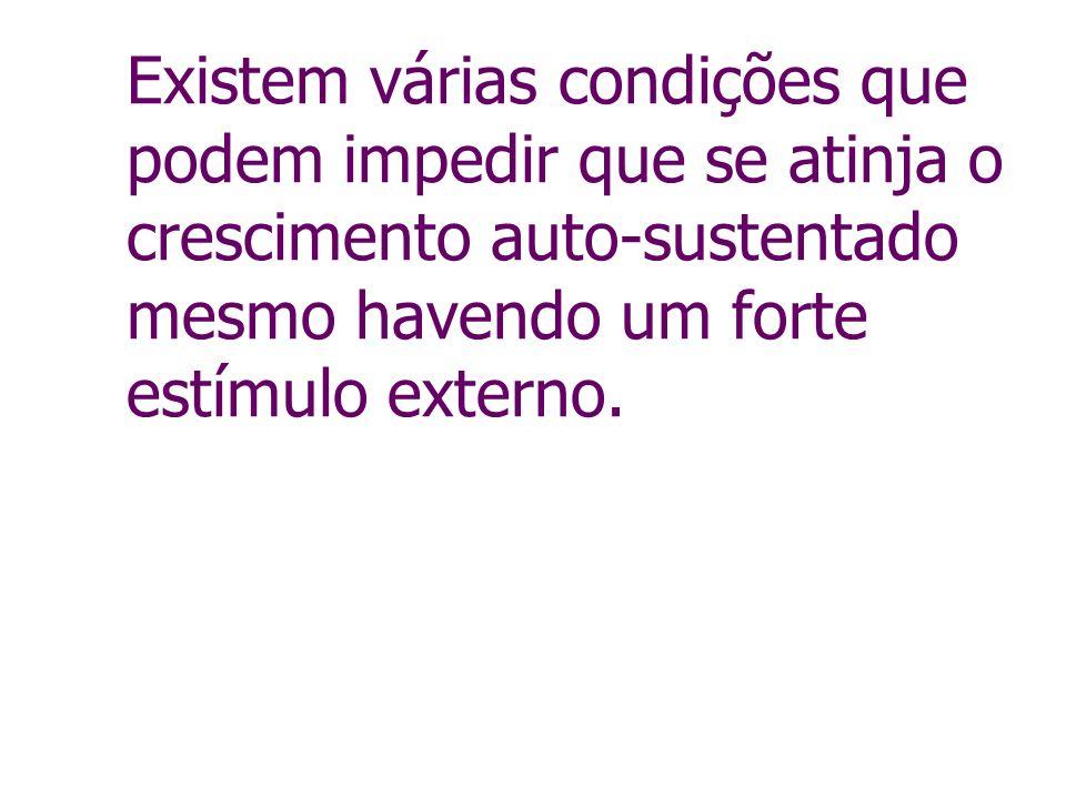 Existem várias condições que podem impedir que se atinja o crescimento auto-sustentado mesmo havendo um forte estímulo externo.