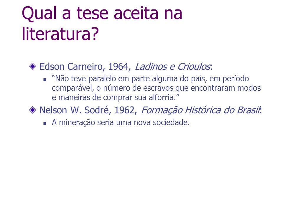 Qual a tese aceita na literatura? Edson Carneiro, 1964, Ladinos e Crioulos: Não teve paralelo em parte alguma do país, em período comparável, o número
