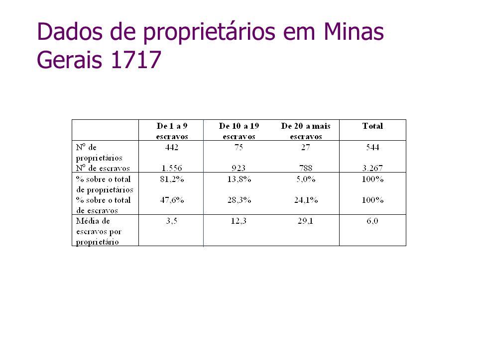 Dados de proprietários em Minas Gerais 1717
