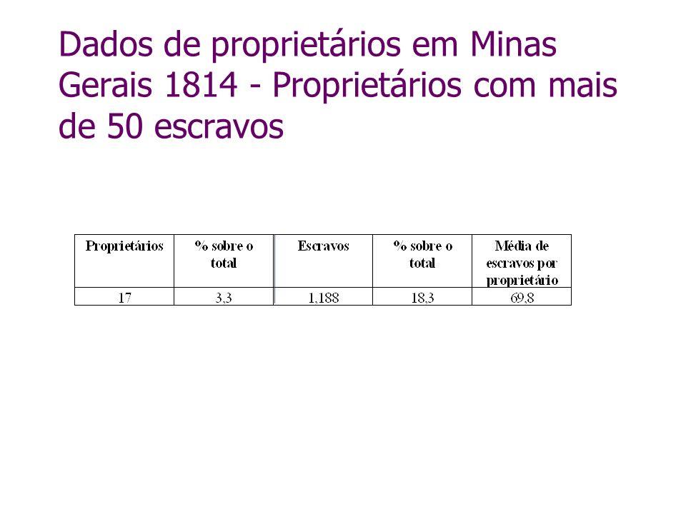 Dados de proprietários em Minas Gerais 1814 - Proprietários com mais de 50 escravos