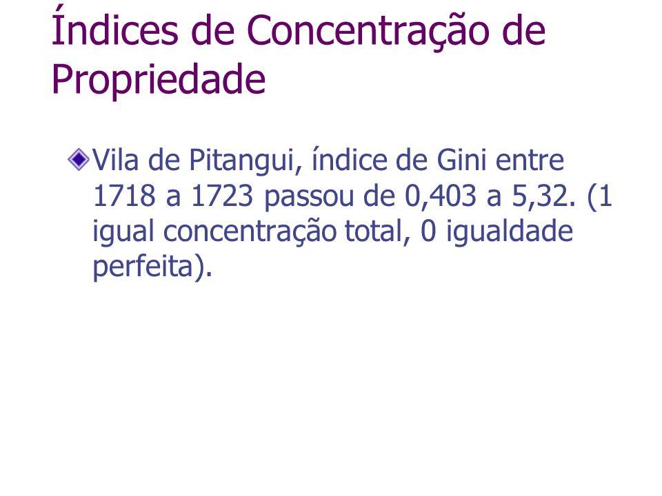 Índices de Concentração de Propriedade Vila de Pitangui, índice de Gini entre 1718 a 1723 passou de 0,403 a 5,32. (1 igual concentração total, 0 igual