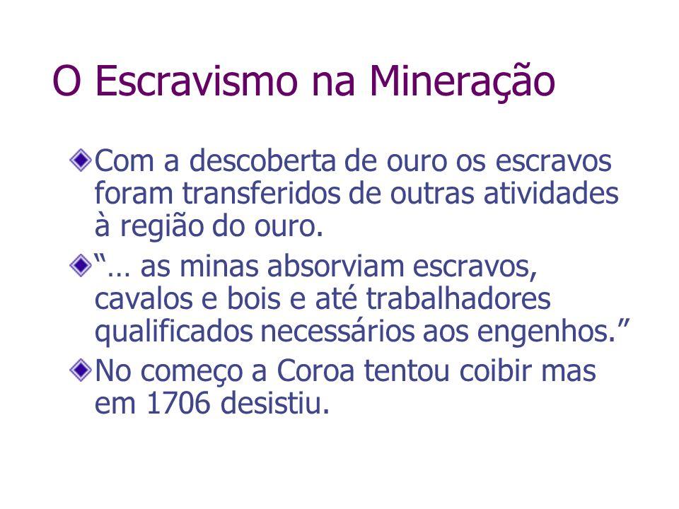 O Escravismo na Mineração Com a descoberta de ouro os escravos foram transferidos de outras atividades à região do ouro. … as minas absorviam escravos
