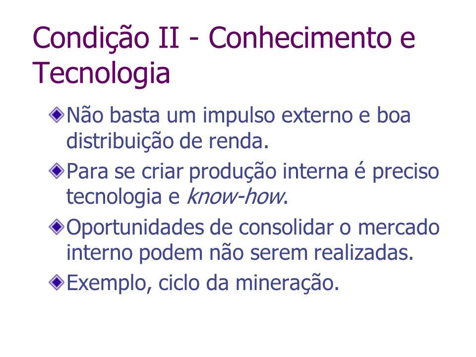 Condição II - Conhecimento e Tecnologia Não basta um impulso externo e boa distribuição de renda. Para se criar produção interna é preciso tecnologia