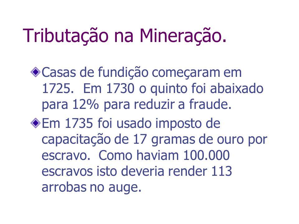 Tributação na Mineração. Casas de fundição começaram em 1725. Em 1730 o quinto foi abaixado para 12% para reduzir a fraude. Em 1735 foi usado imposto