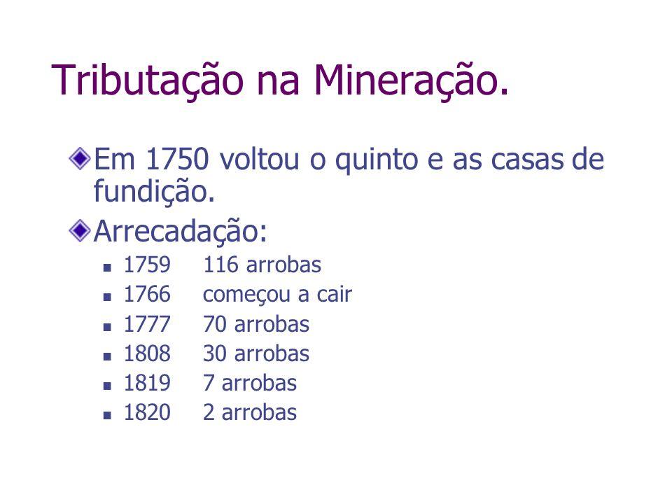Tributação na Mineração. Em 1750 voltou o quinto e as casas de fundição. Arrecadação: 1759116 arrobas 1766começou a cair 1777 70 arrobas 180830 arroba