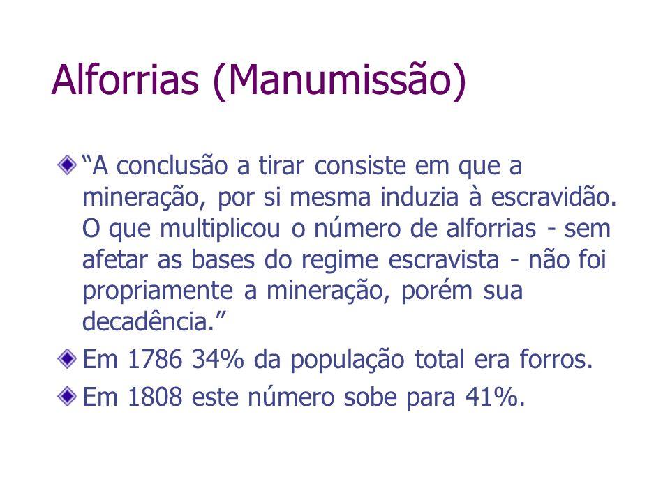 Alforrias (Manumissão) A conclusão a tirar consiste em que a mineração, por si mesma induzia à escravidão. O que multiplicou o número de alforrias - s