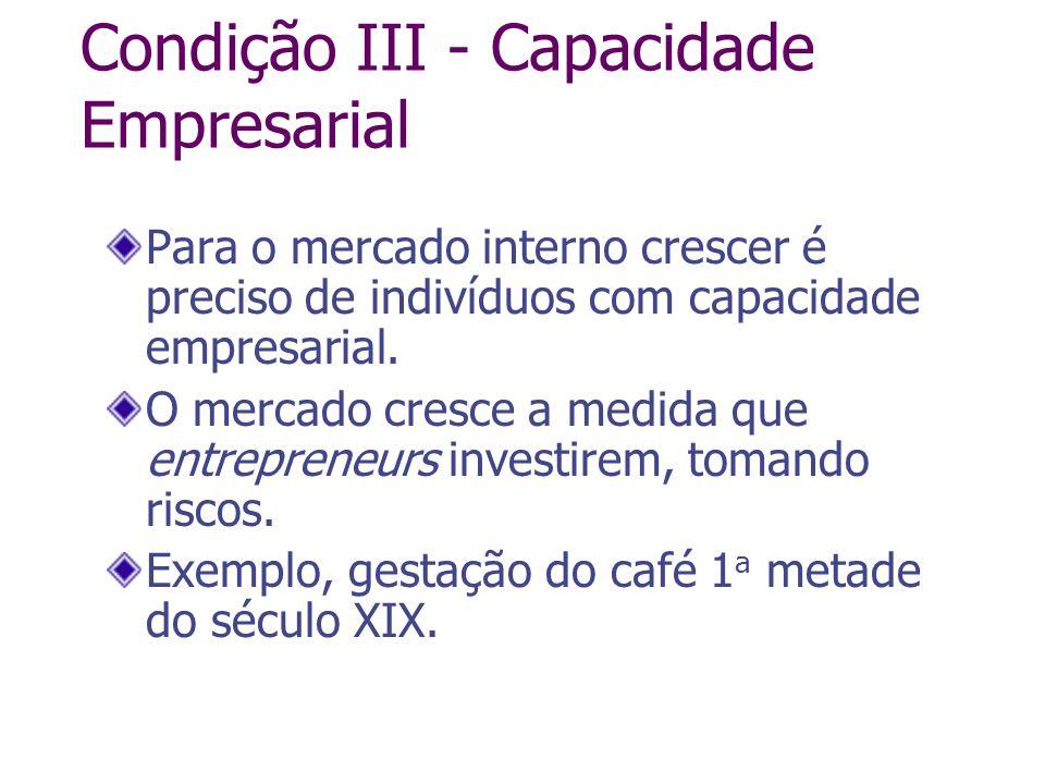Condição III - Capacidade Empresarial Para o mercado interno crescer é preciso de indivíduos com capacidade empresarial. O mercado cresce a medida que