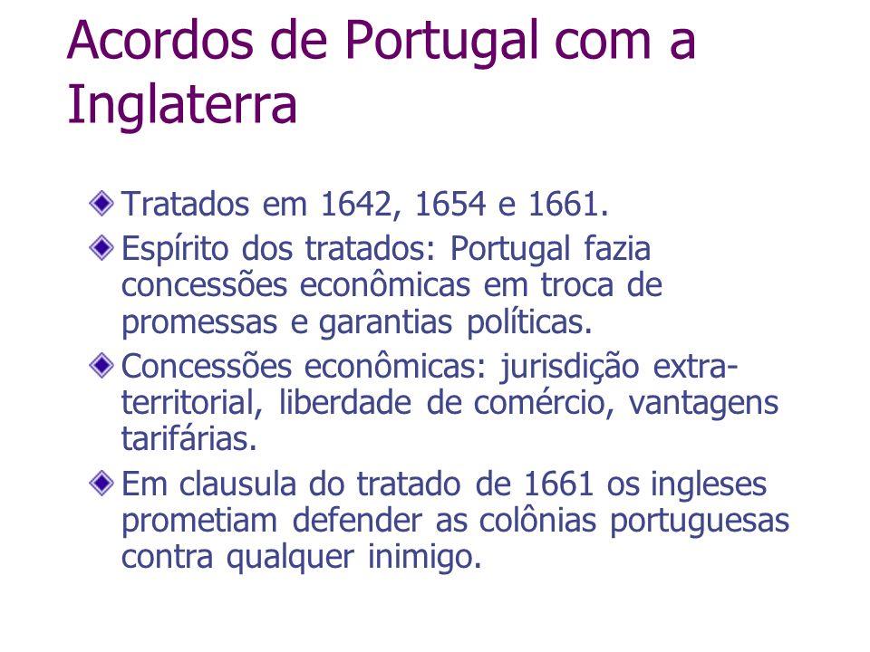 Acordos de Portugal com a Inglaterra Tratados em 1642, 1654 e 1661. Espírito dos tratados: Portugal fazia concessões econômicas em troca de promessas